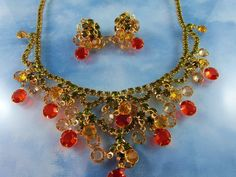 Dazzling Juliana Bib-front Crystal necklace set in Moss Green, Watermelon, and Citrus Yellow