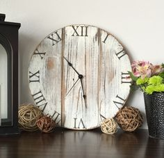 Wall clock. White clock. Rustic wall clock. Wood clock. by WoodLaneCreation on Etsy https://www.etsy.com/listing/268899808/wall-clock-white-clock-rustic-wall-clock