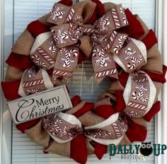 Christmas Wreath - Winter Wreath, Natural and Red with Glitter Candy Canes, Holiday Burlap Wreath - Merry Christmas Burlap Wreath