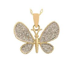 10K Yellow Gold Diamond Butterfly Pendant Available Exclusively at Gemologica.com