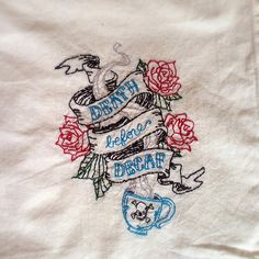 Death Before Decaf Hand-embroidered dish towel by StrongArtsAndCrafts