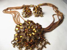 "Vintage Goldtone Pendant with Dangles Choker (14"")  & Pierced Earrings  #Unbranded"