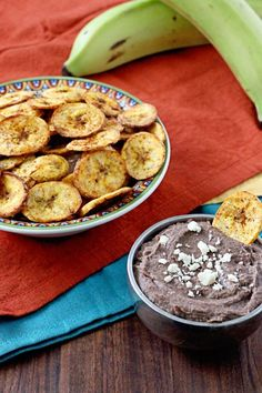BEST SNACK! Crispy Baked Plantain Chips with Black Bean Dip