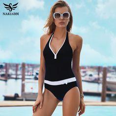 535f3a2fe9c NAKIAEOI 2017 New One Piece Swimsuit Women Vintage Bathing Suits Halter  Plus Size Swimwear Sexy Monokini Summer Beach Wear Swim - TakoFashion -  Women s ...