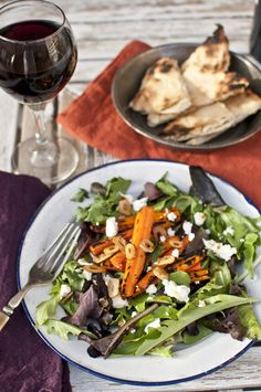 Burnt Carrot Salad with Crispy Fried Garlic Chips and Goat Cheese...omg!
