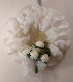 White Wedding Wreath by CoronaDeMambo on Etsy