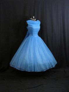 Vintage 50's Sky BLUE Ruched Chiffon Organza Party PROM Wedding Dress
