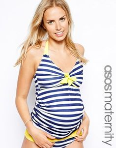 ASOS Maternity Exclusive Swimwear Tankini Top Stripe With Contrast Yellow