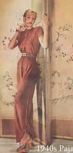1940s Pajama Fashion – Designer – Tina Leser 1940s Fashion, Daily Fashion, Vintage Fashion, 1940s Outfits, Vintage Outfits, Swing Era, 1940s Style, Model Outfits, American Fashion