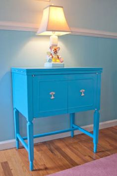 like this color (i could paint my old sewing machine this color too) Girl Nursery, Girl Room, Nursery Ideas, Vintage Sewing Table, Antique Sewing Machines, Bedroom Office, Painted Furniture, Entryway Tables, Bliss