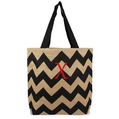 Cathy's Concepts Personalized Chevron Print Jute Tote ($30) ❤ liked on Polyvore featuring bags, handbags, tote bags, chevron print tote bag, black purse, chevron tote bag, monogram tote and monogrammed jute tote bags