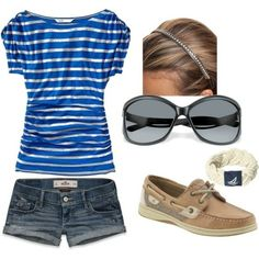 A fashion look from January 2012 featuring old navy tops, vintage short shorts and nautical charms. Browse and shop related looks. Cute Summer Outfits, Cute Outfits, Summer Clothes, Cruise Clothes, Mom Clothes, Short Outfits, Pretty Outfits, Mein Style, Spring Summer Fashion