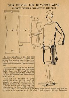 The Midvale Cottage Post: Home Sewing Tips from the 1920s - Sew a Fixed Sash for Your Frock