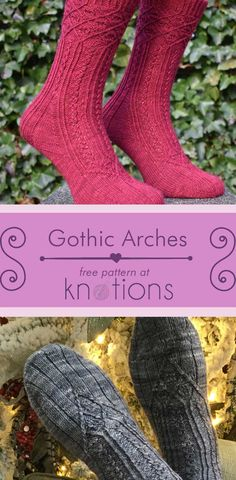 Free knitting pattern for a pair of top-down socks with an arch motif on the top and a textured striped pattern on the rest. Knitted Socks Free Pattern, Knitting Patterns Free, Free Knitting, Knitting Socks, Knitted Hats, Crochet Patterns, Knitting Ideas, Small Knitting Projects, Beading Tools