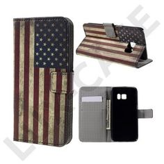 Moberg Læder-etui med kortholder og indbygget stander til Samsung Galaxy S7 - Gammeldags amerikansk flag