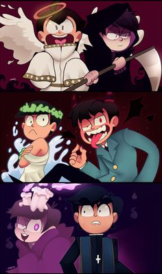 Devimega AU ||| Angel!Jyushimatsu, Reaper!Ichimatsu, Goddess!Choromatsu, Demon!Osomatsu, Ghost!Todomatsu, and Priest!Karamatsu ||| Osomatsu-san AU Fan Art by zamii070 on DeviantArt