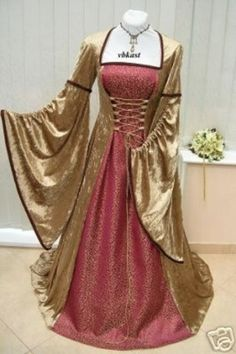 Gowns Pagan Wicca Witch:  Medieval Gown in Gold and Red, with Laced Bodice.  Handmade.
