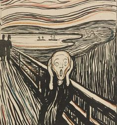 The Scream, woodcut print, 1895, Edward Munch ✏✏✏✏✏✏✏✏✏✏✏✏✏✏✏✏  ARTS ET PEINTURES - ARTS AND PAINTINGS  ☞ fr.pinterest.com/... ══════════════════════  Gᴀʙʏ﹣Fᴇ́ᴇʀɪᴇ ﹕☞ www.alittlemarket... ✏✏✏✏✏✏✏✏✏✏✏✏✏✏✏✏