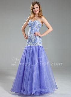 Trumpet/Mermaid Sweetheart Floor-Length Organza Charmeuse Prom Dress With Lace Beading Sequins (018019004) - DressFirst