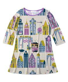 Ecru & Purple Building  Dress