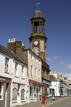 Clock tower at Castle Douglas in Dumfries & Galonway, Scotland