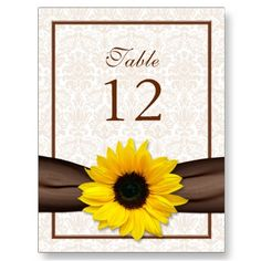 Sunflower table number card.