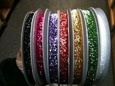 Glitter ribbons. 5 yards for $3.75 #glitter #ribbon #etsy