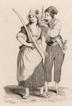 """Sans Culottes: which means """"without knee breeches"""" referred to the peasant look which became very popular during the French Revolution. Pantaloons and """"the shabby trouser brigade"""" referred to the loose fitting trousers worn."""