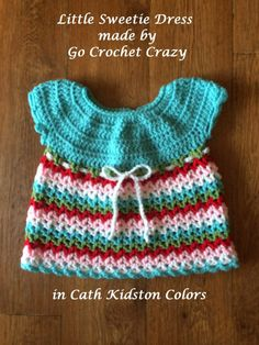 Redheart's Little Sweetie Dress crocheted by Go Crochet Crazy in Cath Kidston colors
