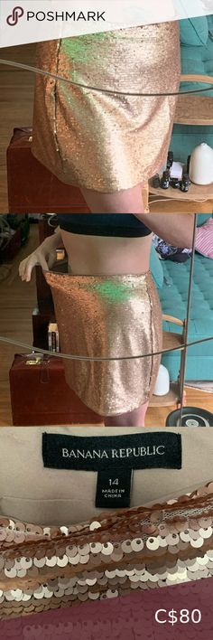 NWOT Champagne Sequence Skirt! Love this skirt! It's so comfortable! It has a bit of stretch, hidden side zipper, lined and the lining is finished and attached to the skirt at both the waist and hem so you don't feel the sequins. Sadly, like most of my closest, I bought this just before my weight loss journey., took the tags iff, hung it up and when I wanted to wear it it didn't fit. My loss your win!! 🌺🌺 all reasonable offers accepted 🌺🌺 Banana Republic Skirts Mini Tartan Mini Skirt, Green Mini Skirt, Wool Mini Skirt, Floral Mini Skirt, Ae Outfitters, Blue High Low Dress, Milly Minis, Perfect Little Black Dress, Skirts With Pockets