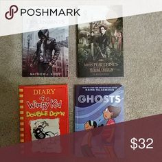 Children's Books Last Decendants, Miss Peregrine's Peculiar Children, Diary of a Wimpy Kid Double Down and Ghosts. All 4 books are 4-6 grade reading level. All brand new and never opened. Makes nice Christmas gifts at a great bundle price!! Other