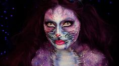 Glam Galaxy Cat   19 Creepy AF Halloween Makeup Ideas That Will Scar You Forever