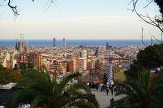 Barcelona panorama, seen from Park Güell Amazing Destinations, Travel Destinations, Sunny Beach, World's Fair, Concert Hall, Gaudi, Beautiful Buildings, Night Life, Playground