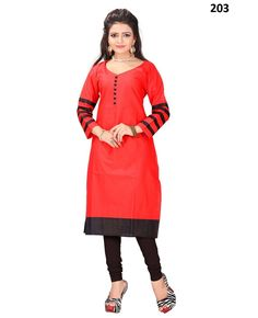 Buy Fency Red Color Cotton Long Sleeves Knee Length Semi Stitched Casual Wear Kurti Online - Indian Wear