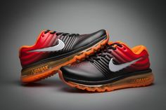Nike Air Max 2017 Leather Black Orange Red Women Mens