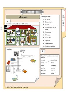 Vocabulary for the house and furniture in Spanish. Free account needed to downlo. Vocabulary for t Spanish Help, Learn Spanish Online, Spanish Basics, How To Speak Spanish, Spanish Games, Spanish Worksheets, Spanish Vocabulary, Spanish Language Learning, Teaching Spanish