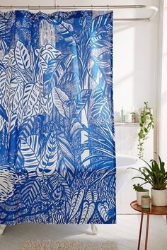 Saskia Pomeroy Plants Shower Curtain | Urban Outfitters | Home & Gifts | Home Furnishings | Curtains #UOEurope #UrbanOutfitters