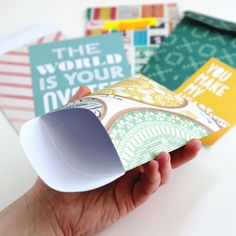 Use up some scraps to make patterned paper envelopes for sending snail mail, or stashing photos, ephemera or journaling on scrapbook pages. This tutorial will show you how to make envelopes measuri…
