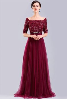 Burgundy Sparkly Evening Dress With Sleeves Boat Neck Long Formal Gown