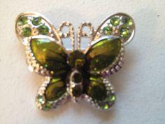 Vintage BROOCH PIN Silver Tone BUTTERFLY Rhinestone Green Enamel Costume Jewelry #Brooch