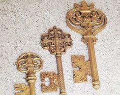 Key Wall Decor, Syroco Wall Decor, 3 Large Skeleton Keys, Victorian Wall Keys