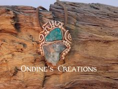 Ondines Creations Clay Pendant   Amazonite, Rough Emerald,  Crystal Mineral Healing Stone Pendant #134 by OndinesCreations on Etsy