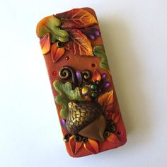 Autumn Acorn Slide Top Tin Sewing Needle Case  by Claybykim
