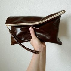 rennes whiskey brown leather clutch
