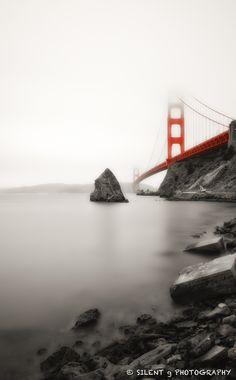 Foggy Golden Gate Bridge, SF, CA