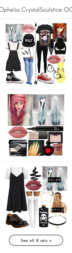 """""""Ophelia CrystalSoulstice OC"""" by dappershadow ❤ liked on Polyvore featuring Urban Decay, Topshop, Converse, Boohoo, NYX, Dsquared2, Fendi, Lime Crime, See Concept and beauty"""