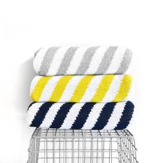 Navy Stripe Sweater Blankets by WrenandRumor on Etsy