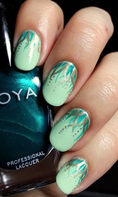Disney Nail Art Tiana Dress Green Waterfall 7