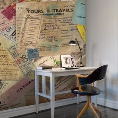Tours and Travels is a charming and nostalgic wallpaper design made with a collage out of old tickets.