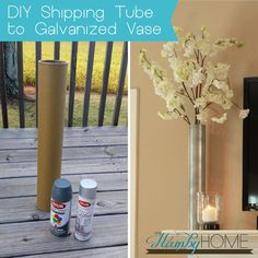 DIY Shipping Tube to Galvanized Vase Diy Projects With Cardboard, Cardboard Tube Crafts, Cardboard Art, Vase Crafts, Bottle Crafts, Diy Flooring, Tall Vases, Diy Décoration, Diy Home Decor Projects
